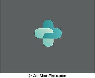 Logo cross geomeric icon two green heart pharmacy