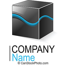 Logo cube - Logo glossy metallic cube with blue element, ...