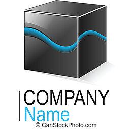 Logo cube - Logo glossy metallic cube with blue element, ...