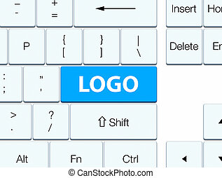 Logo cyan blue keyboard button