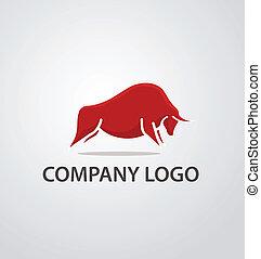 logo, czerwony, byk