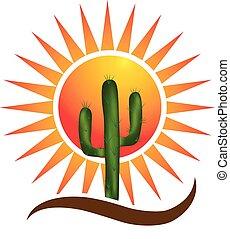 logo, désert, soleil