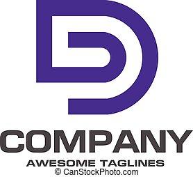 logo, d, lettre, créatif