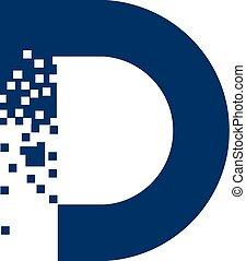 logo, d, litera, cyfrowy