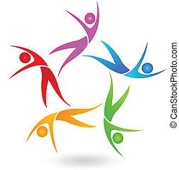 logo, dansend koppel