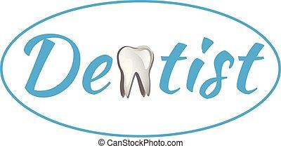 logo, dentaal, ontwerp, mal, plat
