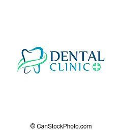 Logo dental care clinic, dentistry for kids. Teeth abstract...