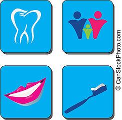 logo, dental, vektor, sorgfalt