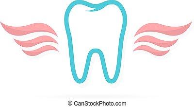 logo, dentiste, ailes, dent
