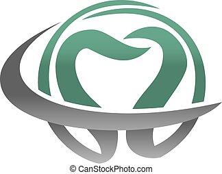 logo, dentysta, wektor, projektować, szablon