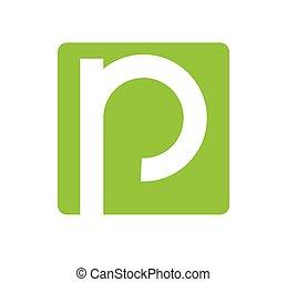 logo, design, buchstabe p