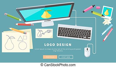 Logo Design Concept - Designer office workspace with tools...