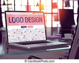 Logo Design Concept on Laptop Screen.