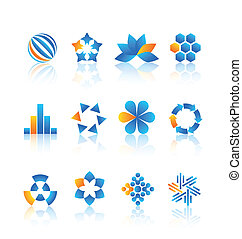 Logo design elements - Blue and yellow logo design elements...
