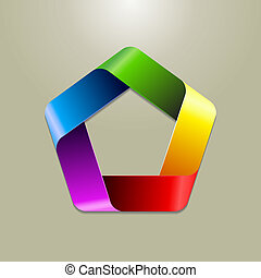 Logo design - A five sided logo design in multiple colours