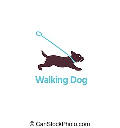 logo, design, för, hund, gående.