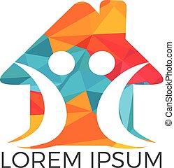 logo, design., gelukkige familie, thuis