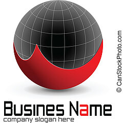 Logo design, globe red and black, vector.