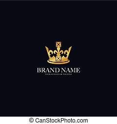 logo design gold color crown vector