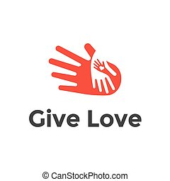 Logo design heart in hands. Abstract vector icon illustration