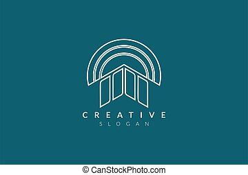 Logo design of the building with a round roof. Minimalist ...