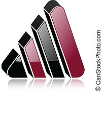 Logo design 3d glossy triangle with shadow, vector...