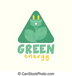 Logo design with abstract plant with leaves and electric plug instead of flower. Green and yellow alternative pure energy label. Flat vector isolated on white