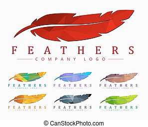 Logo design with bird feather. Abstract polygonal element