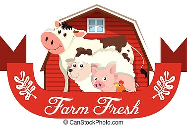 Logo design with farm animals