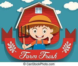 Logo design with farmer and barn
