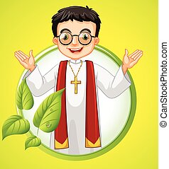 Logo design with priest and leaves