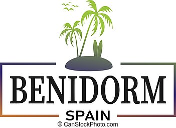logo design with text Benidorm, vector illustration