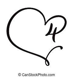 logo, dessiné, quatre, vecteur, frame., signe, fleurir, valentin, monogram, page, carte, calligraphie, conception, coeur, main, vendange, élément, amour, 4., mariage, floral, ou, illustration., nombre, décoration, invitation