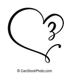 logo, dessiné, vecteur, frame., signe, fleurir, valentin, monogram, page, carte, calligraphie, conception, coeur, main, vendange, 3., élément, amour, mariage, floral, ou, illustration., numéro trois, décoration, invitation
