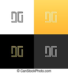 Logo DG. Linear logo of the letter d and g for companies and...