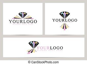 logo, diamant, vecteur