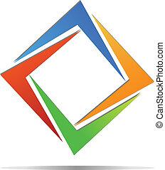 logo, diament, wektor, barwny