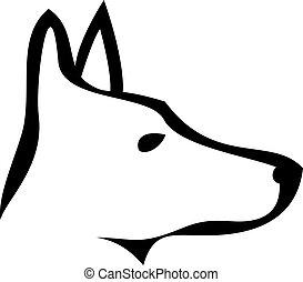 logo, doberman, chien