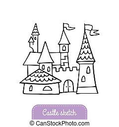 logo, dobry, magia, chorągiew, karta, doodle, fairytale, powitanie, ilustracja, castle., hand-drawn, wektor, kingdom., zaproszenie, flyer., zamek, albo, rysunek