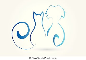 Logo dog and cat line art vector