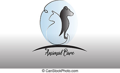 Logo dog ,cat and bird silhouette icon