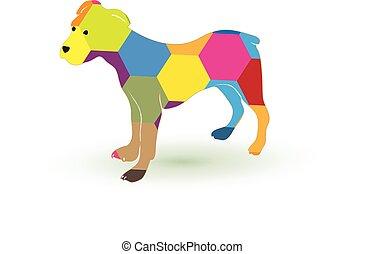 Logo dog colorful silhouette icon vector