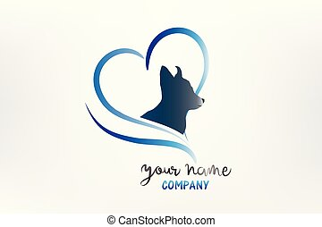 Logo dog love heart silhouette icon