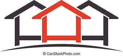 logo, domy, graficzny, wektor, design.