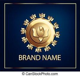 logo, doré, industrie, cosmétique, étiquette