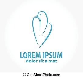 Logo Dove flying vector design template. Bird abstract