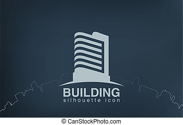 logo, drapacz chmur, nowoczesny, budowa., nieruchomość,...