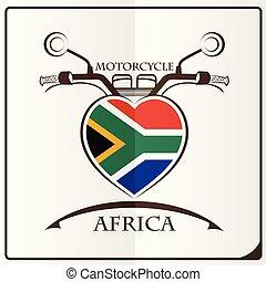 logo, drapeau, fait, afrique, motocyclette