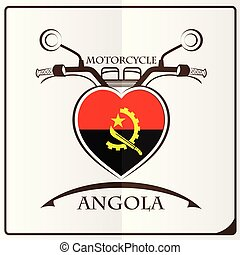 logo, drapeau, fait, angola, motocyclette