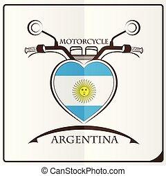 logo, drapeau, fait, argentine, motocyclette